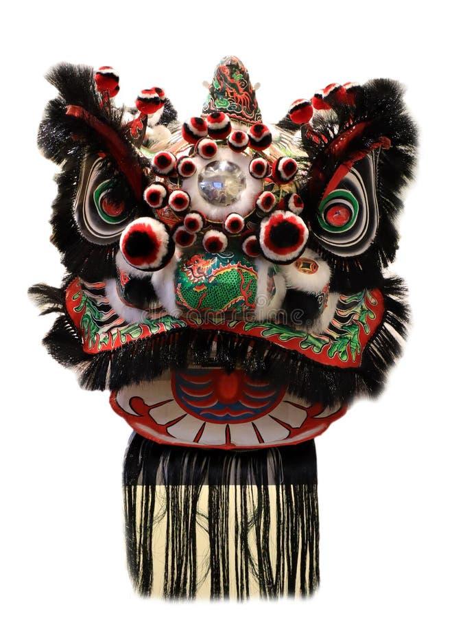 Kinesisk maskering för huvud för lejondans som isoleras på vit bakgrund, kinesisk stil som är svart arkivfoto