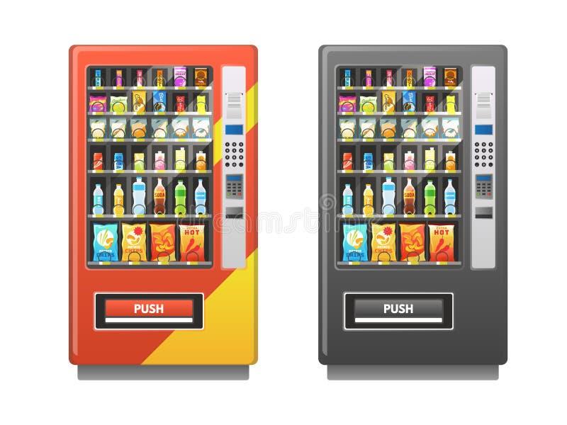 kinesisk maskinvending Mellanmål skjuter in ljusbruna drycker packen, försäljningsdetaljhandelmekanismen, plan vektor för choklad royaltyfri illustrationer