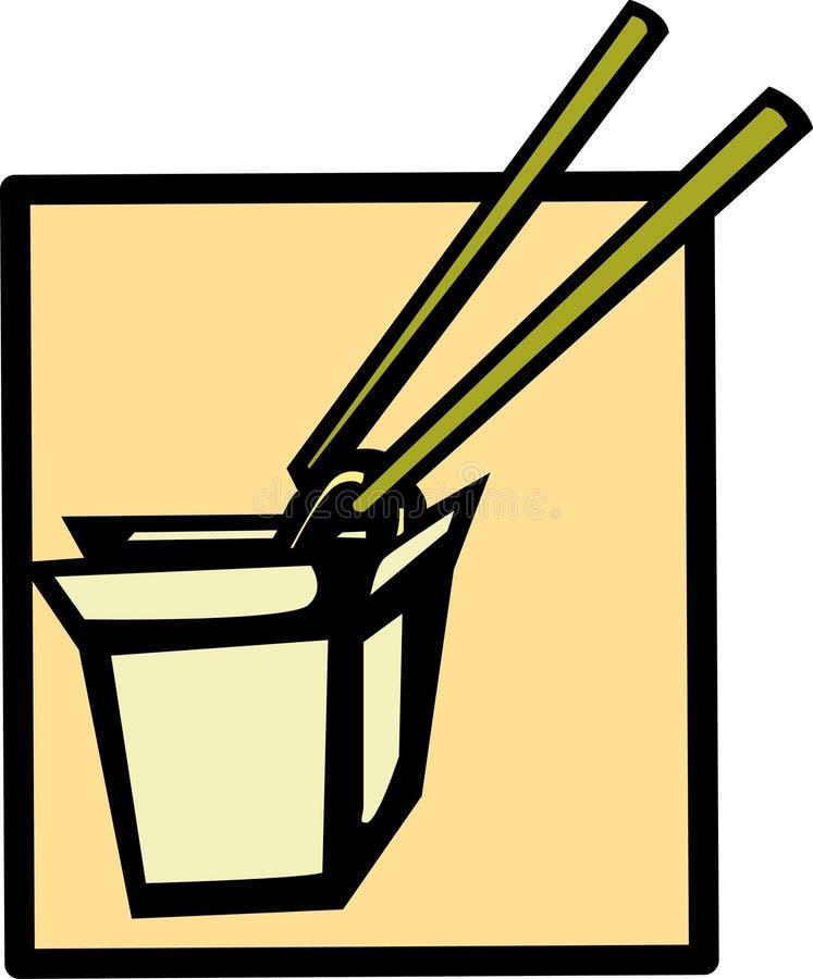 kinesisk mat går till stock illustrationer