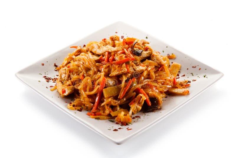 Kinesisk mat med höna royaltyfri bild