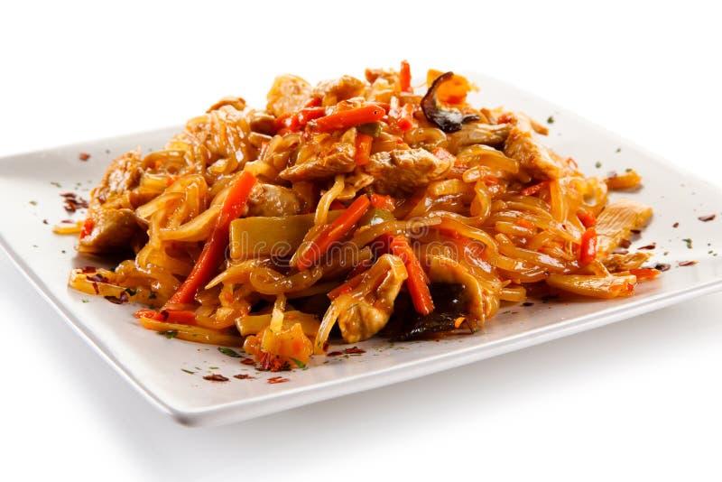Kinesisk mat med höna arkivfoton