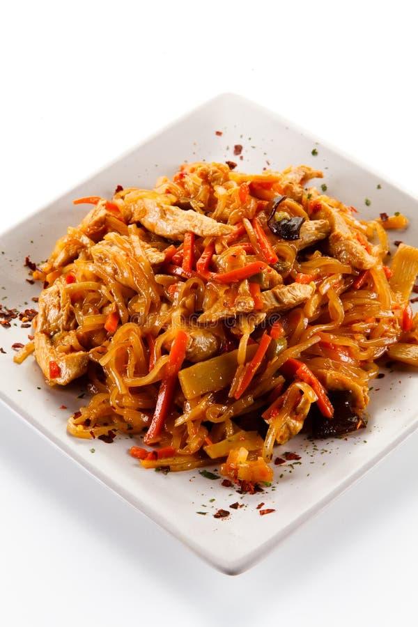 Kinesisk mat med höna royaltyfria bilder
