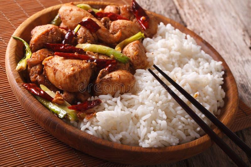 Kinesisk mat: ris med fega Kung Pao på en plattanärbild Ho arkivfoto