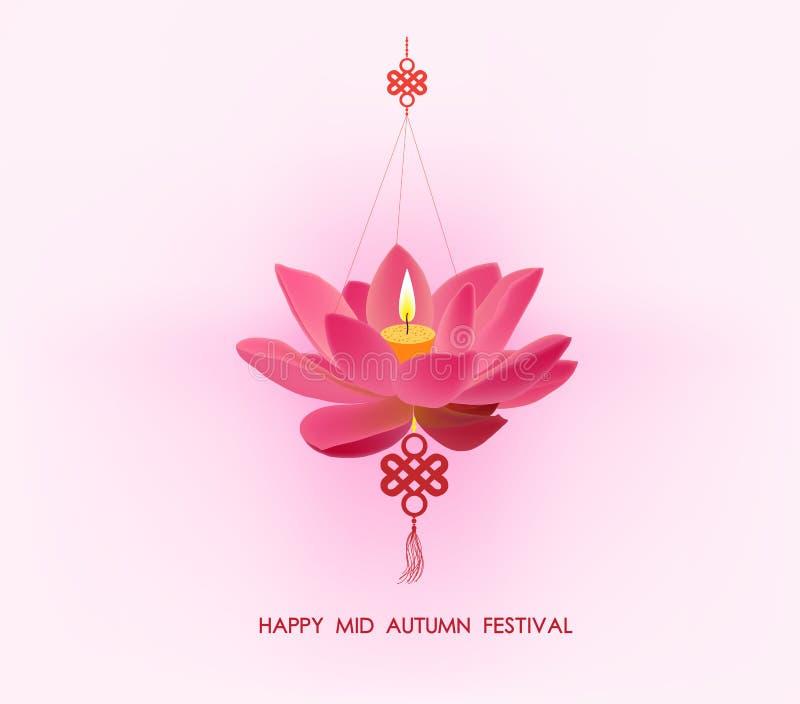 Kinesisk mitt- höstfestivalbakgrund Lotus lykta stock illustrationer