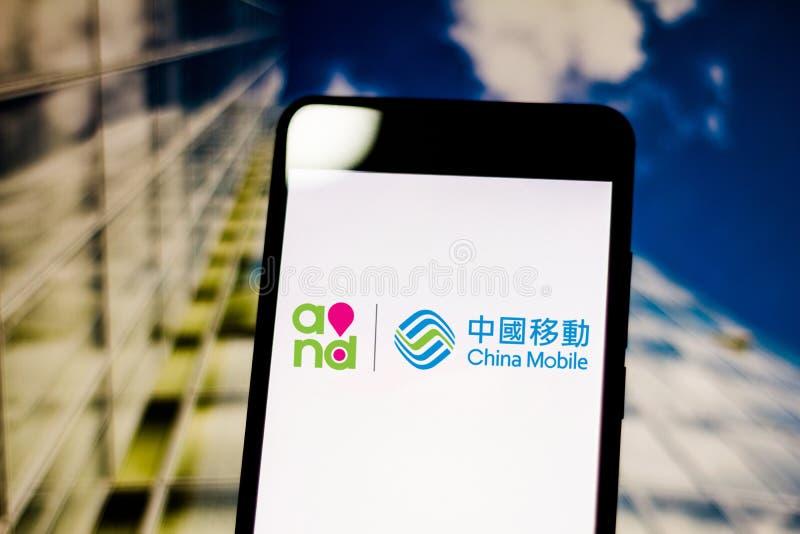 Kinesisk Mobile CMCC-logotyp på den mobila enheten Det är Kinas statsägda telekommunikationsföretag arkivfoton