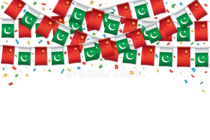 Kinesisk och pakistansk bakgrund för flaggabuntingmall stock illustrationer