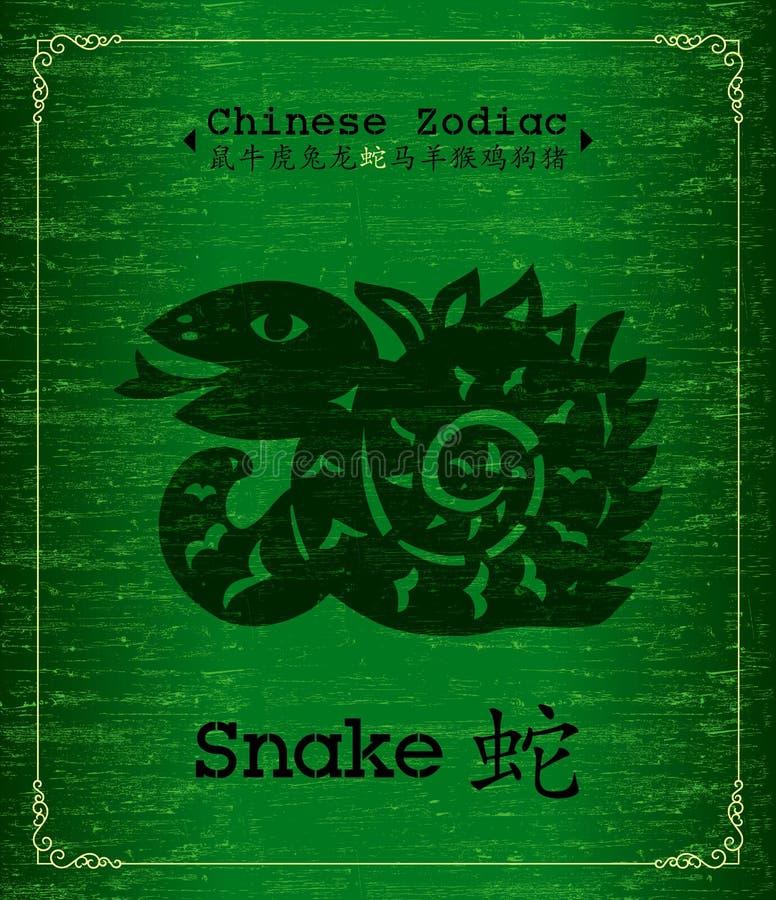 kinesisk ormzodiac vektor illustrationer