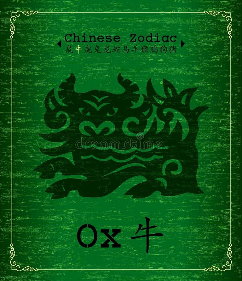 kinesisk oxezodiac vektor illustrationer