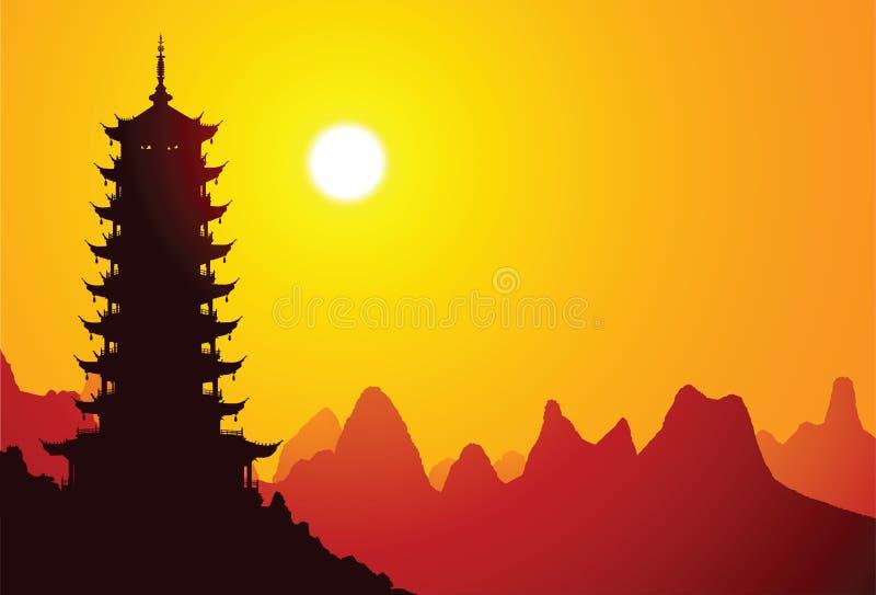 kinesisk pagoda stock illustrationer