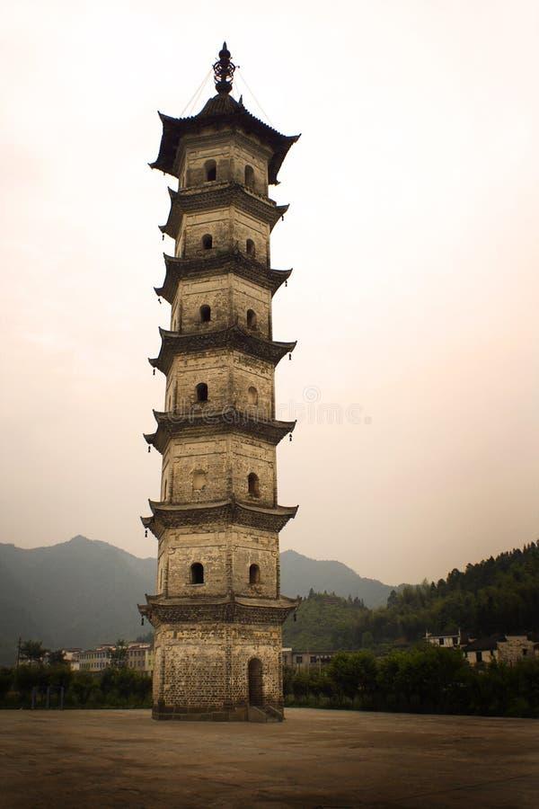 kinesisk pagodasolnedgång royaltyfri fotografi