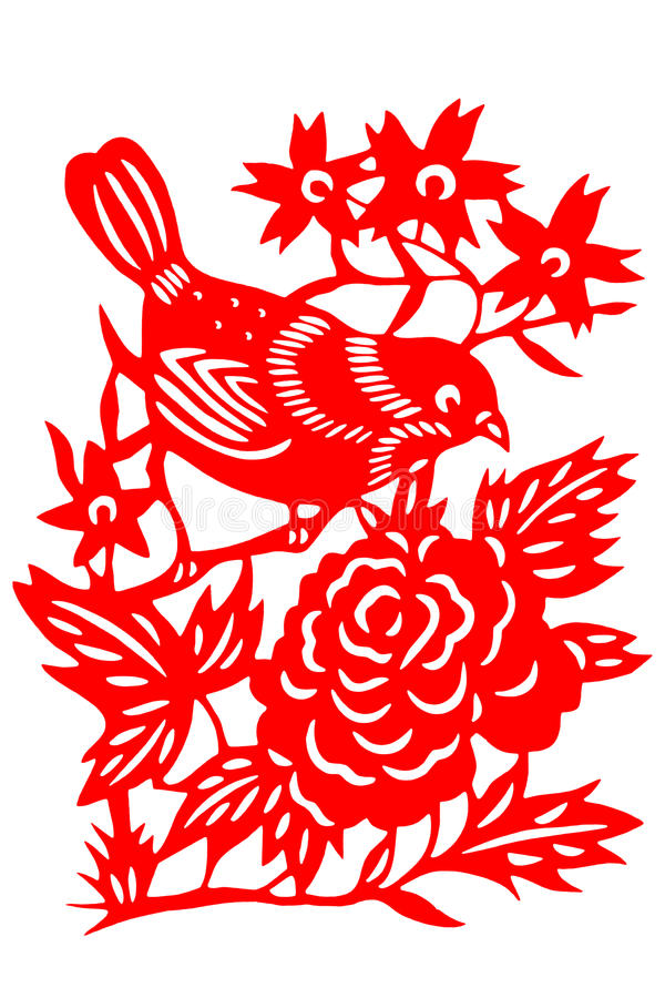 Kinesisk papper-snitt fågel arkivfoton
