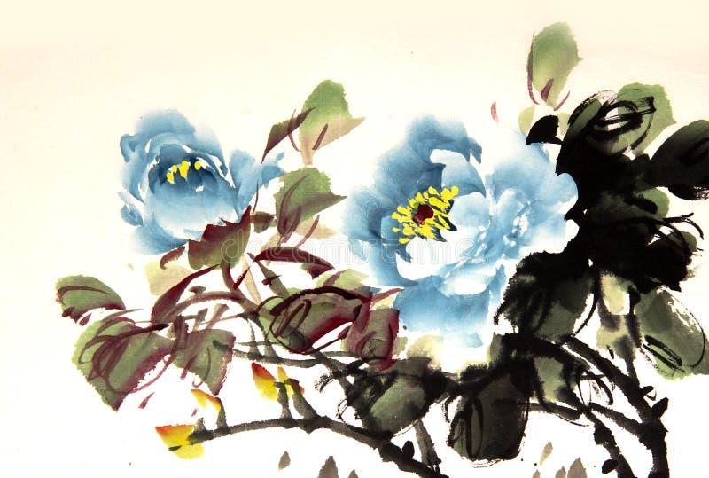 Kinesisk pionfärgpulverteckning stock illustrationer