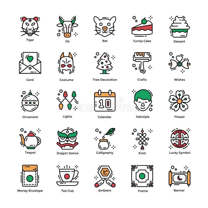 Kinesisk plan symbolsuppsättning för nytt år royaltyfri illustrationer