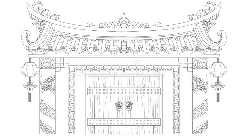 Kinesisk port för färgläggningbok och designbeståndsdel också vektor för coreldrawillustration royaltyfri illustrationer
