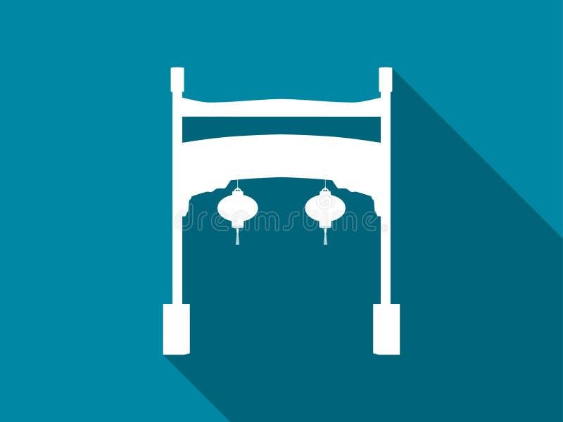 Kinesisk portlägenhetsymbol med lång skugga vektor vektor illustrationer