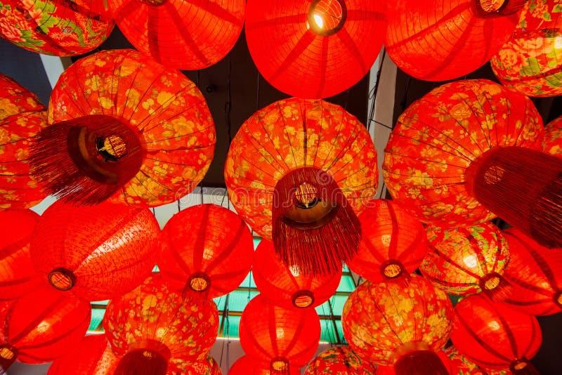 Kinesisk röd garnering för pappers- lykta arkivfoto