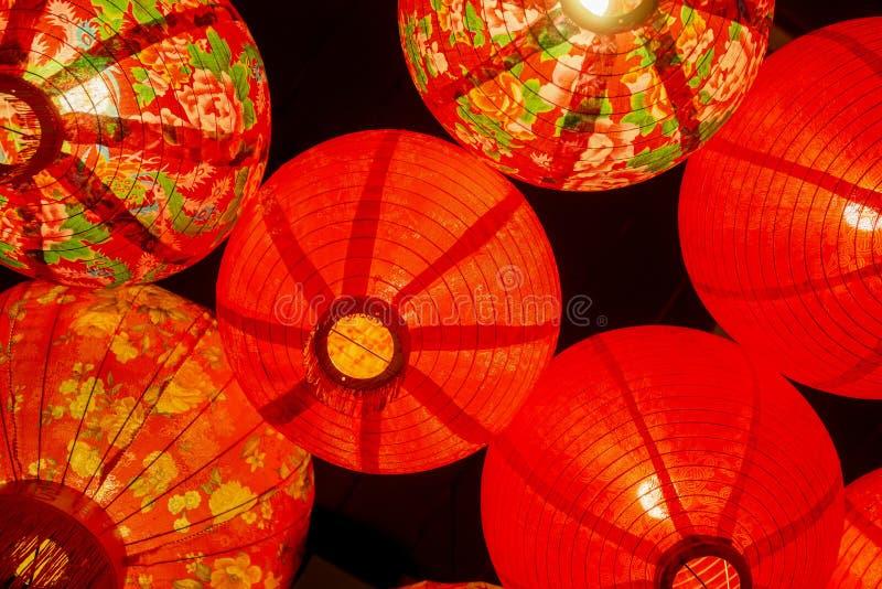 Kinesisk röd garnering för pappers- lykta fotografering för bildbyråer