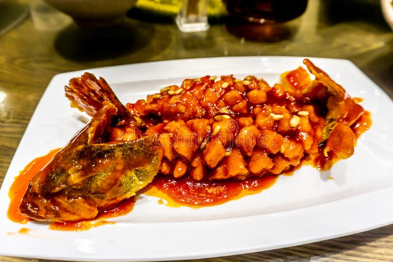 Kinesisk söt sur fisk royaltyfri foto