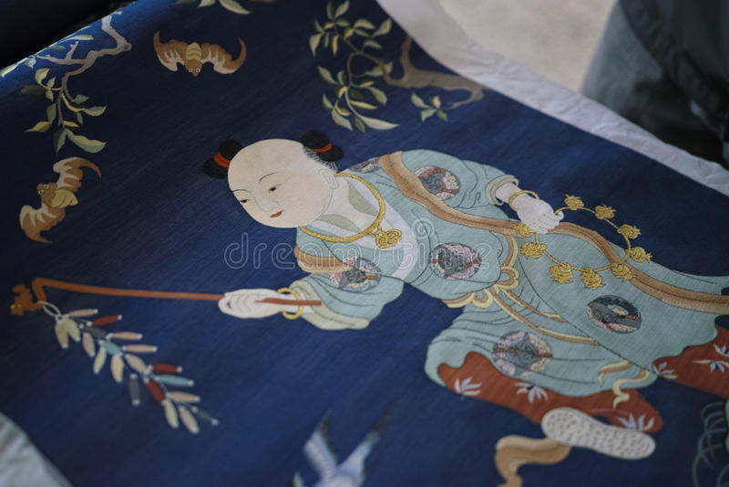Kinesisk siden- gobeläng arkivfoto