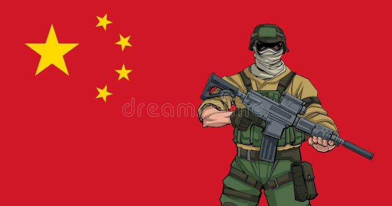 Kinesisk soldat Background royaltyfri illustrationer