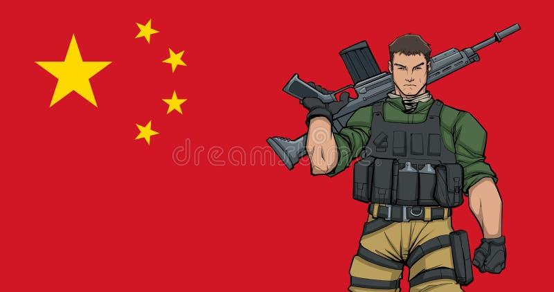 Kinesisk soldat Background vektor illustrationer