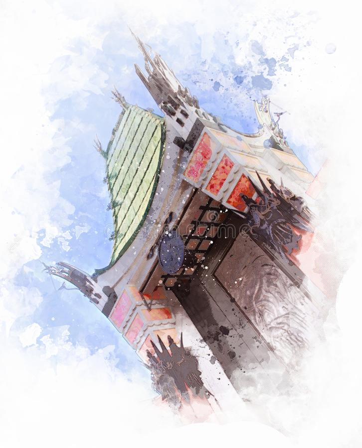 Kinesisk teater för TCL på den Hollywood boulevarden, Los Angeles - USA royaltyfri illustrationer