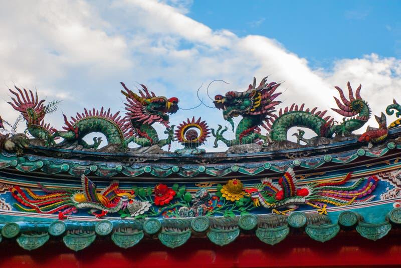 Kinesisk tempel i kineskvarter Kuching Sarawak malaysia städer royaltyfri fotografi