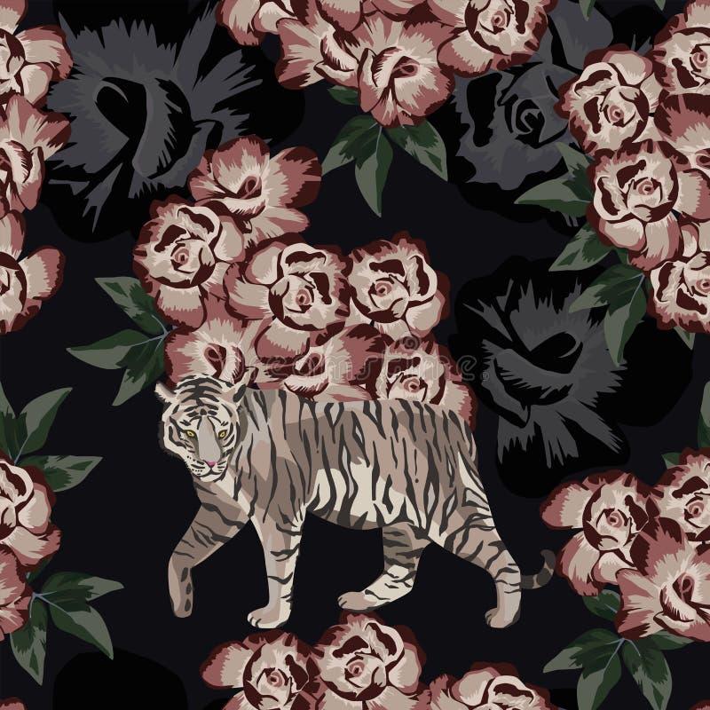 Kinesisk tiger för månsken på den rosa bakgrunden vektor illustrationer
