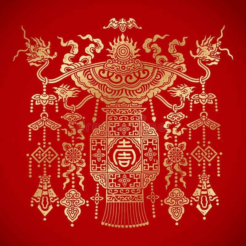 Kinesisk tradionallykta på röd bakgrund arkivfoto