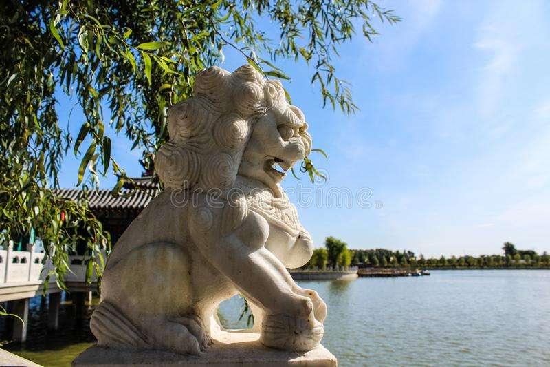 kinesisk traditionell lionsten arkivfoto