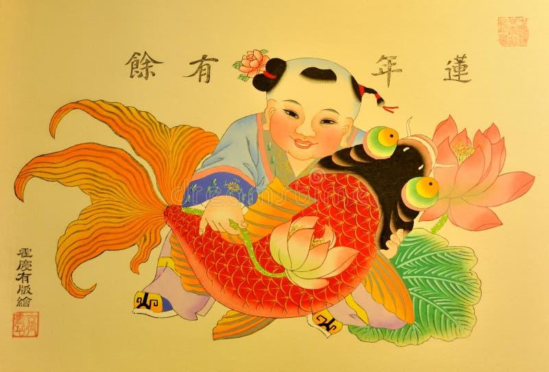 kinesisk traditionell målningsstil royaltyfria foton