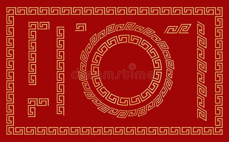 Kinesisk traditionell prydnad Ställ in av sömlösa beståndsdelar och ramar vektor stock illustrationer