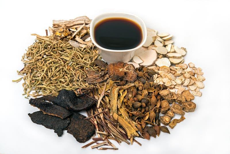 Kinesisk traditionell växt- medicin och organiska örter royaltyfri fotografi