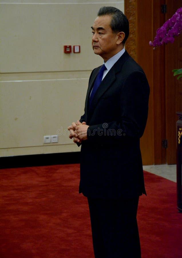 Kinesisk utrikesminister Wang Yi för mötet royaltyfri fotografi