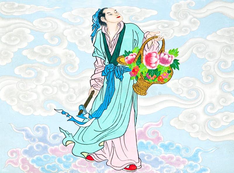 kinesisk vägg för målningstempeltradition royaltyfri fotografi