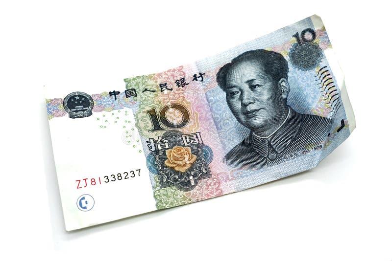 Kinesisk valuta, pengar, yuan, på en vit bakgrund, isolat arkivbilder