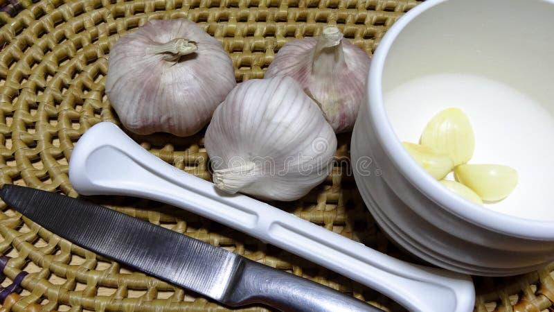 Kinesisk vitlök och en vitlökstansmaskin royaltyfria foton