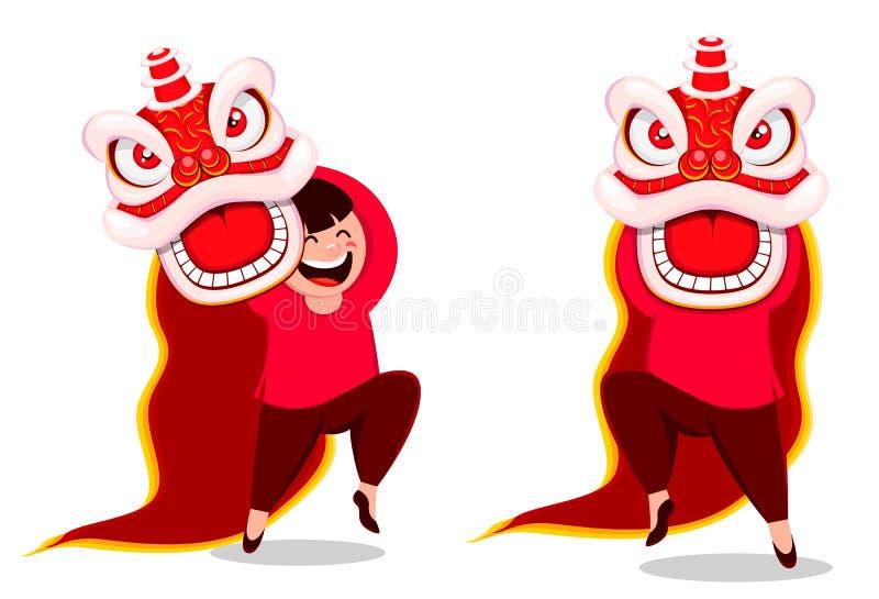 Kinesisk vykort för nytt år med det traditionella lejonet vektor illustrationer