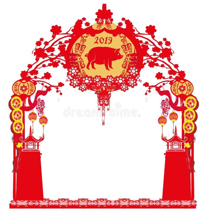 Kinesisk zodiak året av svinet - ram stock illustrationer