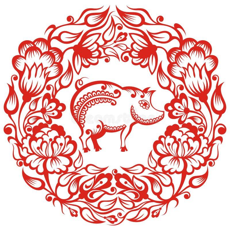Kinesisk zodiak - svin royaltyfri illustrationer