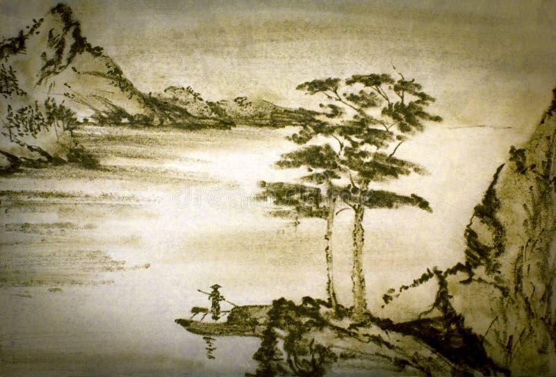 Kinesiska berg och flod vektor illustrationer