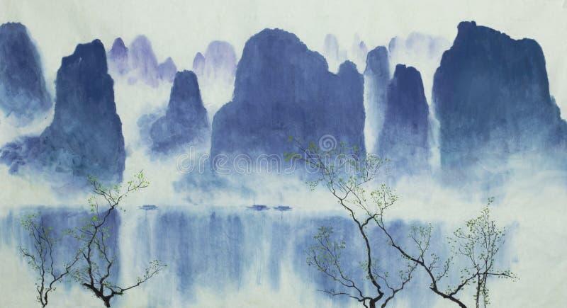 Kinesiska berg vatten och dimma stock illustrationer