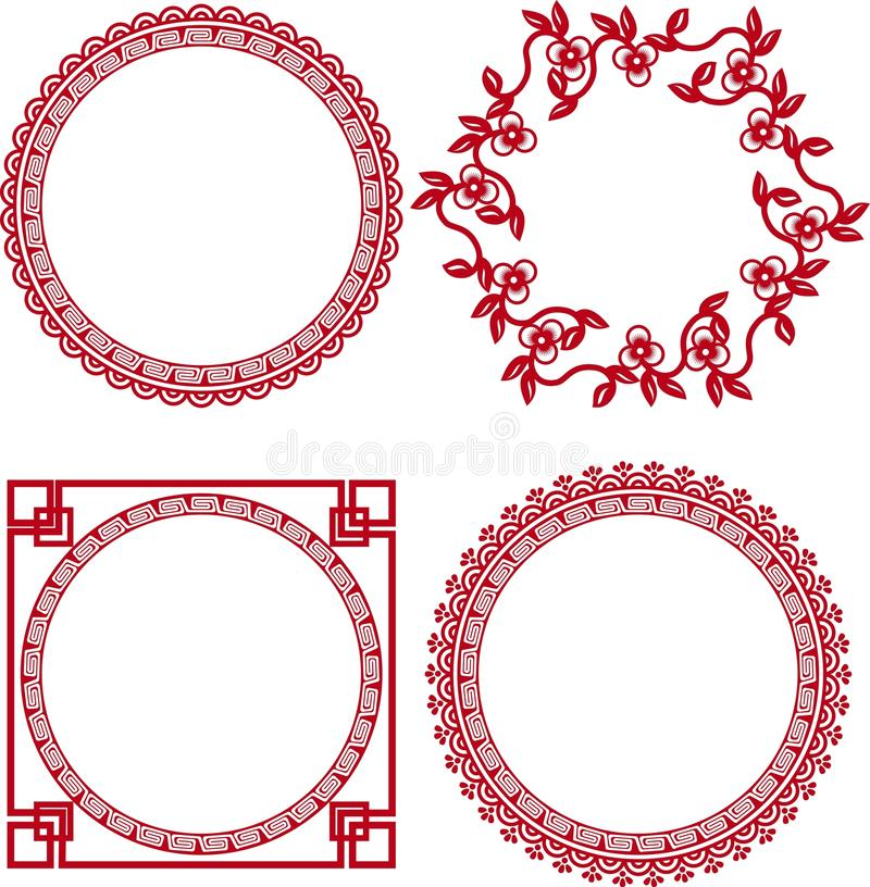 Kinesiska dekorativa ramar royaltyfri illustrationer