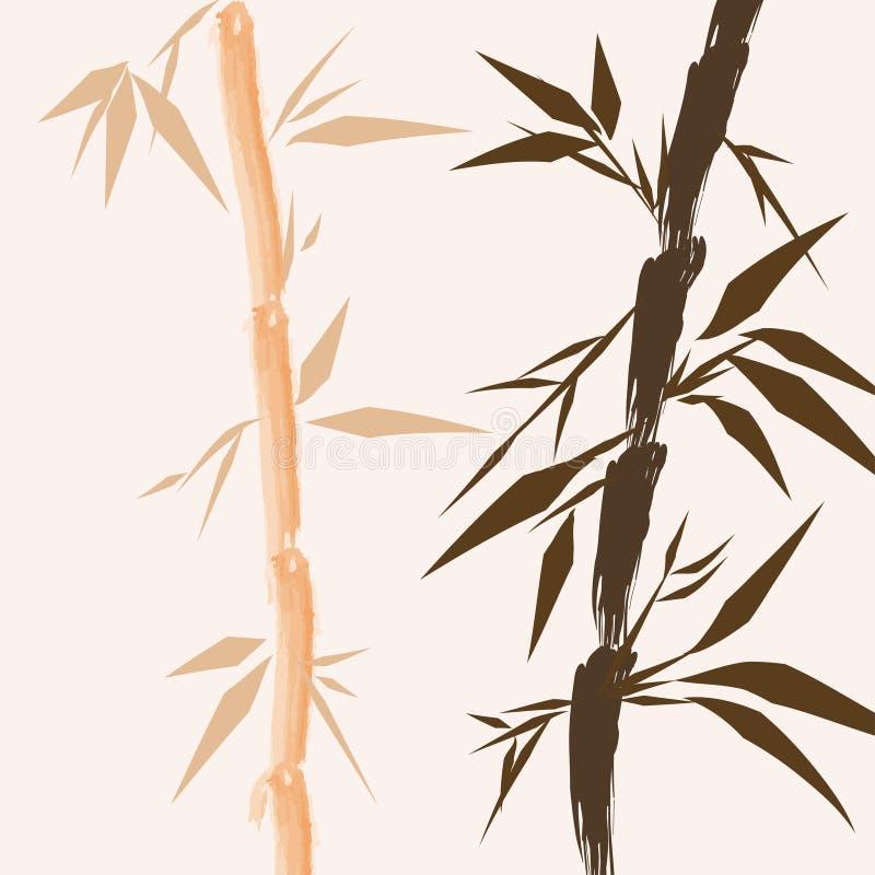 kinesiska designtrees för bambu royaltyfri illustrationer