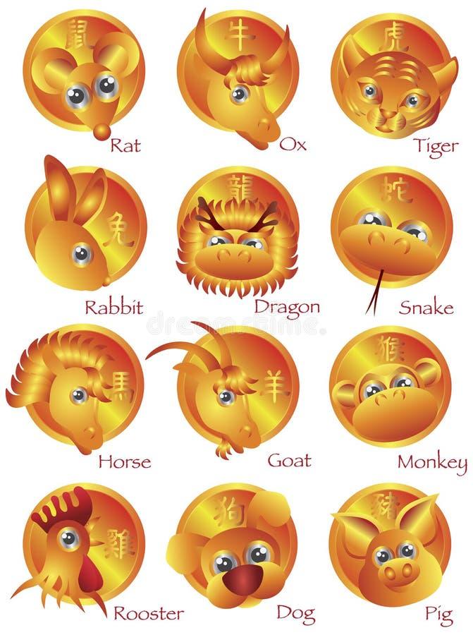Kinesiska djur för Zodiac 12 i guldcirkel stock illustrationer
