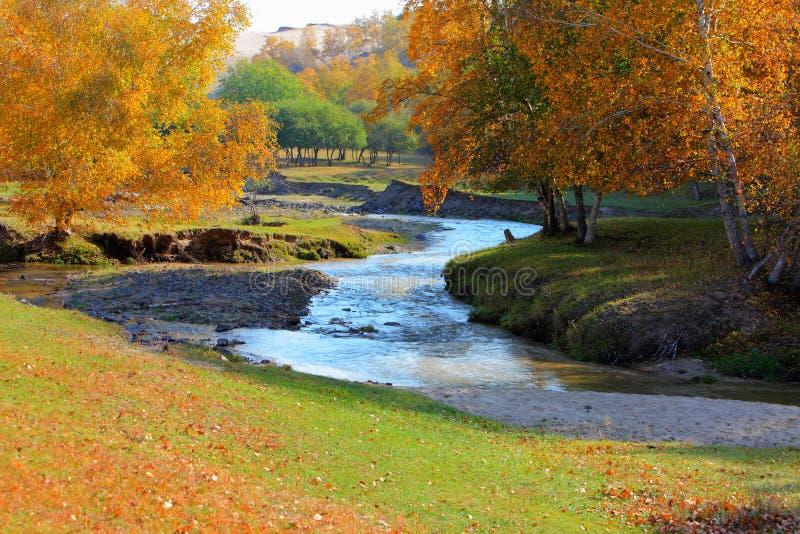 kinesiska floder för fördämningInner Mongolia prärie royaltyfri foto