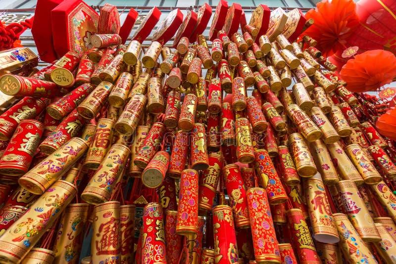 Kinesiska fyrverkerier för nytt år arkivbild