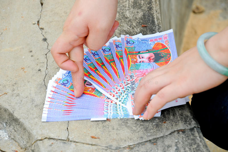 kinesiska gudpengar arkivbilder