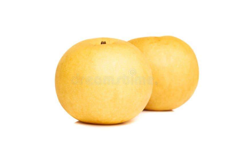 Kinesiska guld- päron på vit bakgrund royaltyfri fotografi