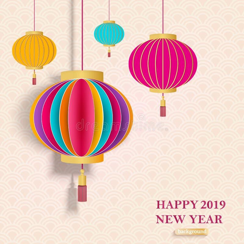 2019 kinesiska hälsningkort för nytt år med lyktor för traditionell kines Ljus texturerad bakgrund stock illustrationer